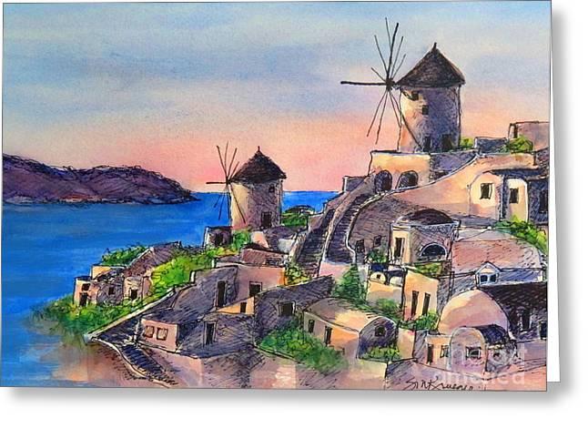 Santorini Windmills Greeting Card