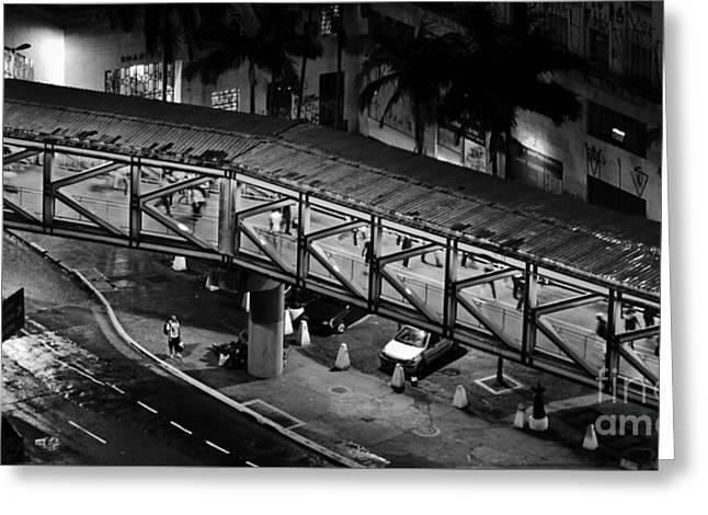 Sao Paulo - Metallic Footbridge At Night Greeting Card by Carlos Alkmin