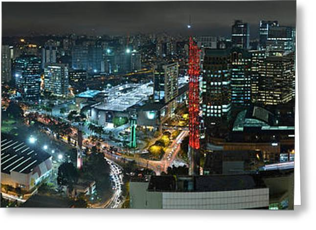 Sao Paulo Skyline Modern Corporate Districts Brooklin Morumbi Chacara Santo Antonio Greeting Card