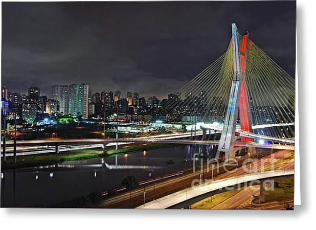 Sao Paulo Skyline - Ponte Estaiada Octavio Frias De Oliveira Wit Greeting Card