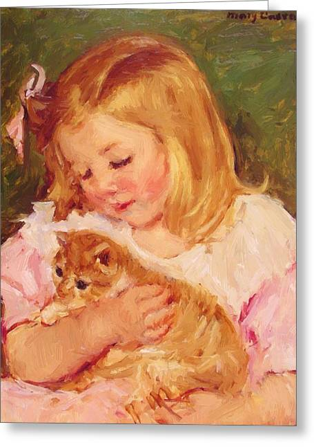 Sara Holding A Cat Greeting Card
