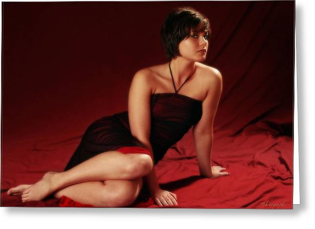 Sarah In Red Greeting Card by Artographs Fine Art