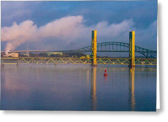 Sarah Long Bridge At Dawn Greeting Card