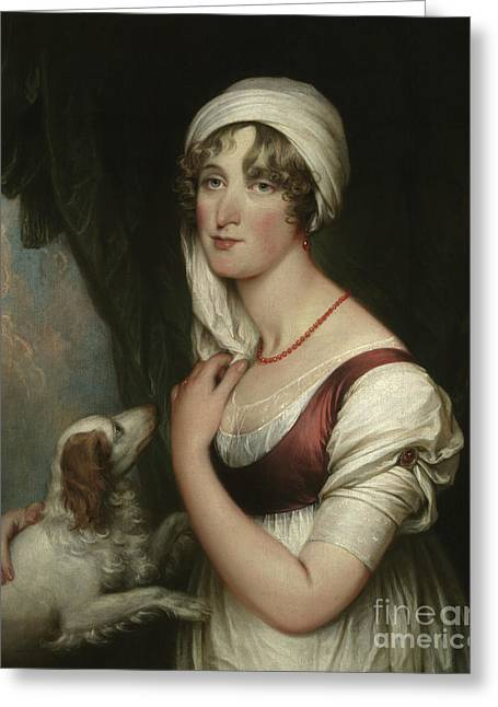 Sarah Trumbull With A Spaniel Greeting Card by John Trumbull