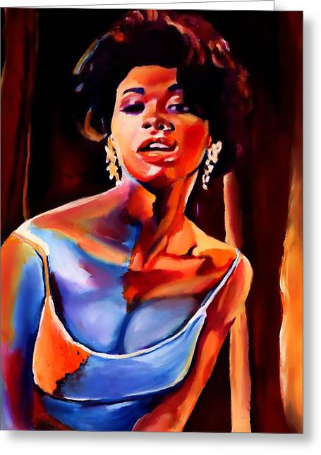 Sarah Vaughan Greeting Card by Vel Verrept