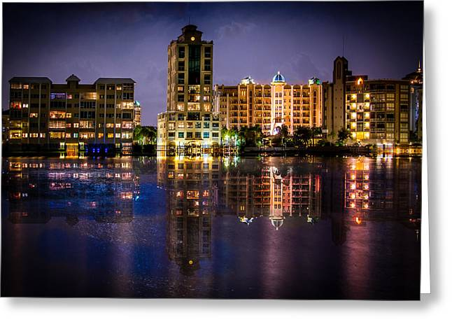 Greeting Card featuring the photograph Sarasota Bay After Dark by Claudia Abbott