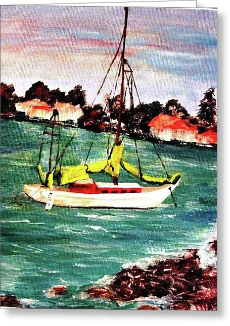 Sarasota Bay Sailboat Greeting Card by Angela Murray