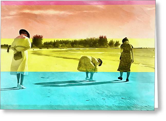 Greeting Card featuring the painting Sarasota Series Beachcombers by Edward Fielding