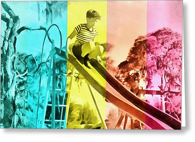 Greeting Card featuring the painting Sarasota Series Trailer Park Playground by Edward Fielding