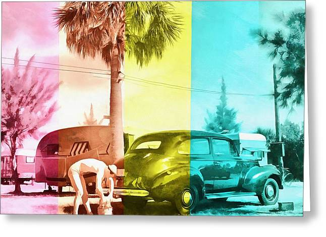 Greeting Card featuring the painting Sarasota Series Wash The Car by Edward Fielding
