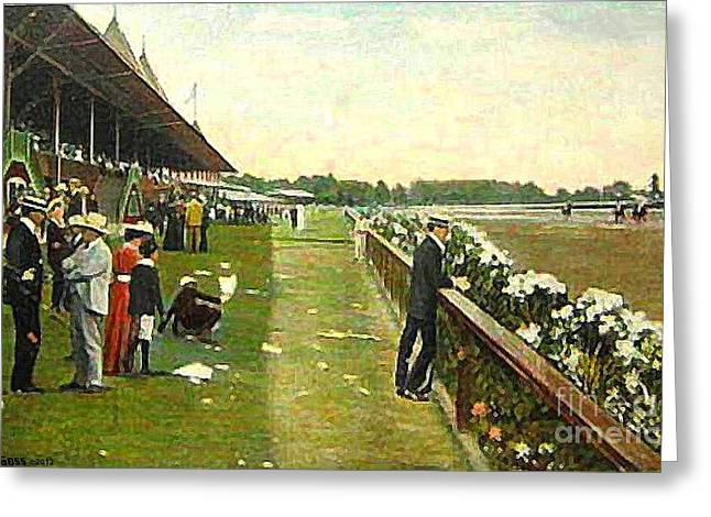 Saratoga Racetrack And Grandstand In 1905 Greeting Card
