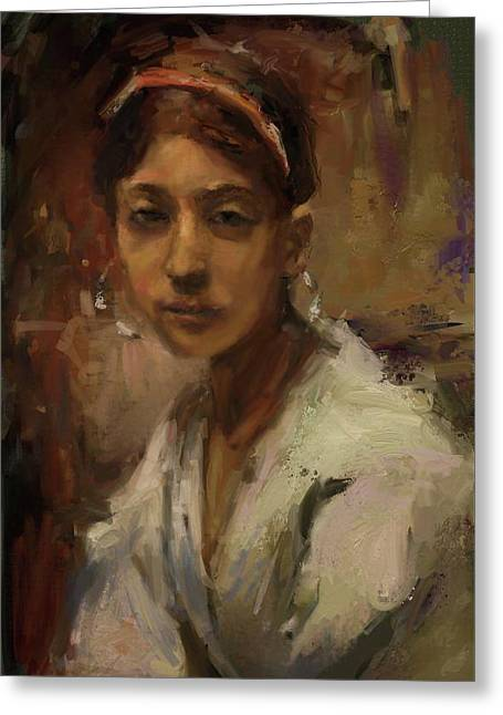 Sargent Study Number 1 Capri Girl Greeting Card by Brian Kardell