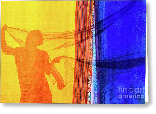 Sari Girl Greeting Card by Tim Gainey
