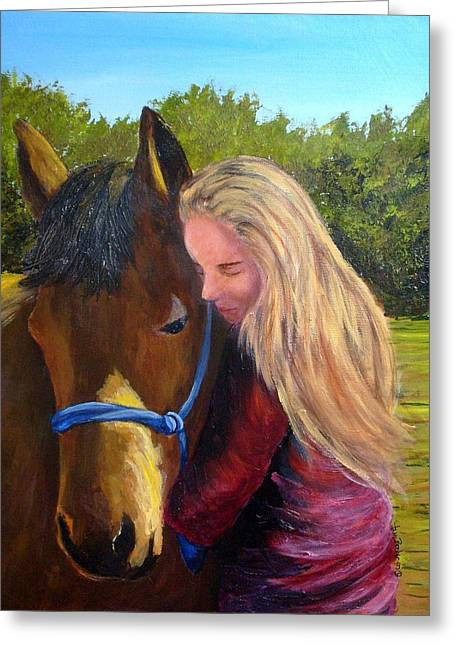 Sasha And Chelsea Greeting Card by Tami Booher