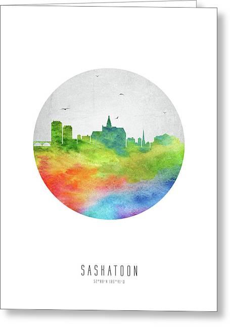 Saskatoon Skyline Casksa20 Greeting Card