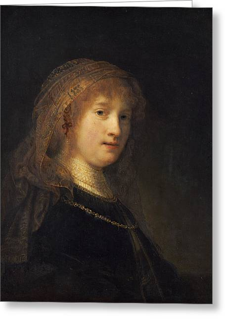 Saskia Van Uylenburgh, The Wife Of The Artist Greeting Card by Rembrandt