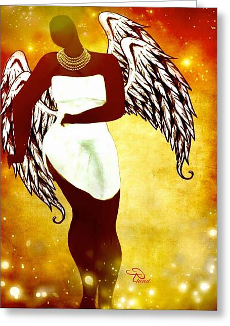 Sassy Angel Greeting Card by Romaine Head