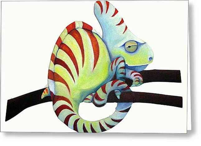 Sassy Chameleon Greeting Card by Susan Clausen
