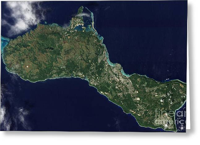 Satellite View Greeting Cards - Satellite View Of The Island Of Guam Greeting Card by Stocktrek Images