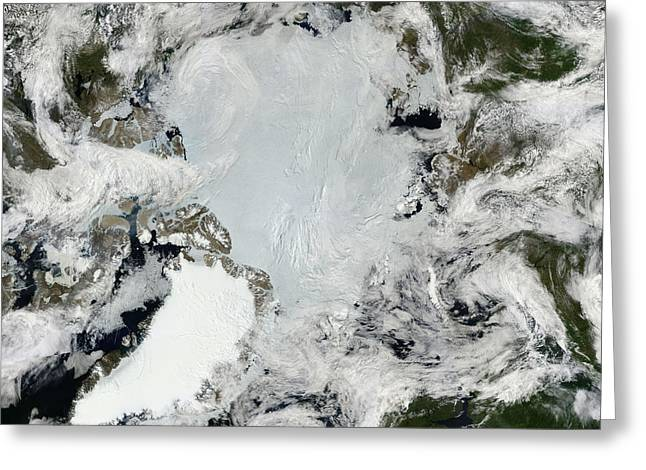 Satellite View Of The North Pole Greeting Card by Stocktrek Images