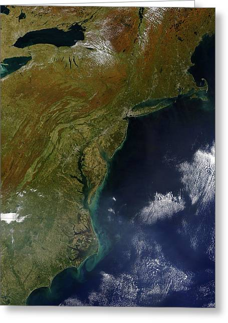 Satellite View Greeting Cards - Satellite View Of The United States Greeting Card by Stocktrek Images