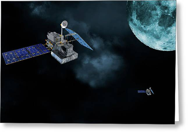 Satellites In Orbit Around The Moon Greeting Card by Christian Lagereek