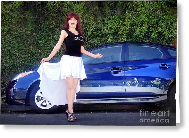 Satin High-low Skirt. Ameynra Fashion Greeting Card by Sofia Metal Queen