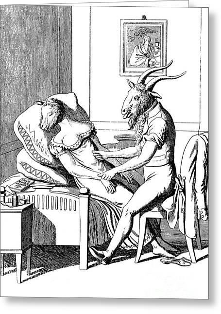Satirization Of Animal Magnetism, 1815 Greeting Card