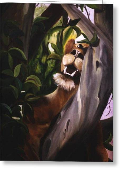 Greeting Card featuring the painting Satisfied by Renate Nadi Wesley