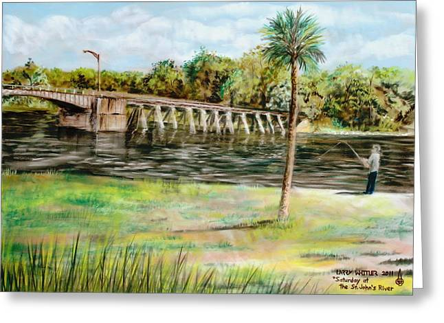 Florida Bridge Pastels Greeting Cards - Saturday At The St. Johns River Greeting Card by Larry Whitler