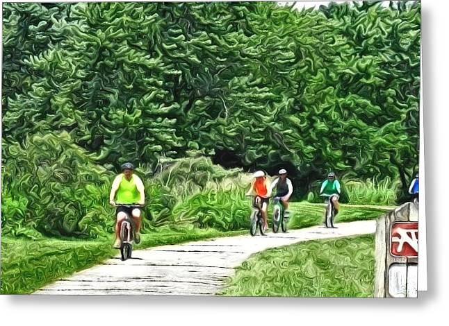 Saturday Bike Ride Greeting Card