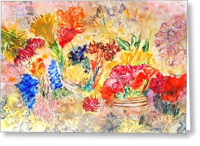 Saturday Flower Market Greeting Card by John Vandebrooke