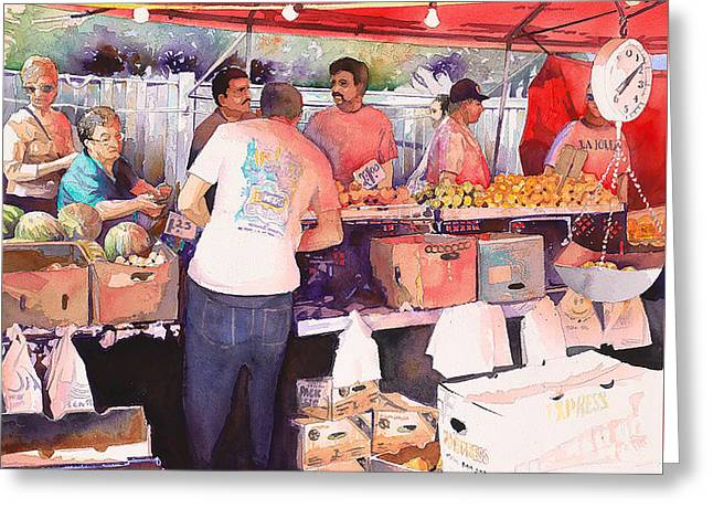 Saturday Market Greeting Card by Mike Hill