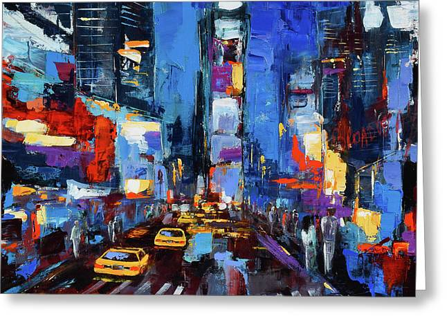 Saturday Night In Times Square Greeting Card by Elise Palmigiani