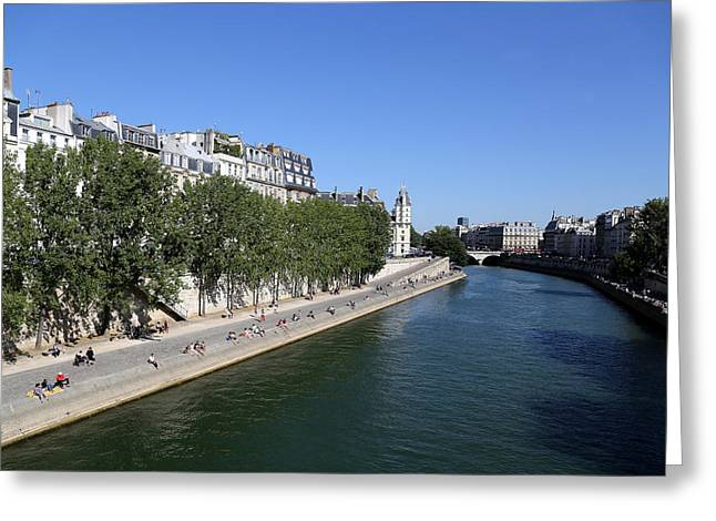 Saturday On The Seine 1 Greeting Card by Andrew Fare