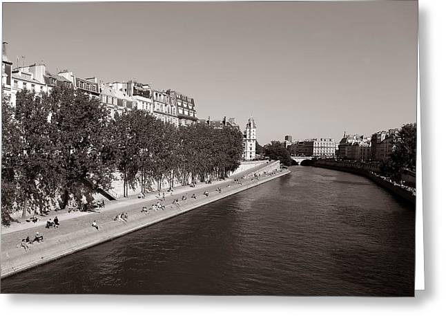 Saturday On The Seine 3 Greeting Card by Andrew Fare
