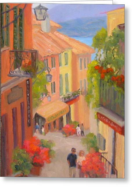 Saturday Stroll - Bellagio Greeting Card by Bunny Oliver