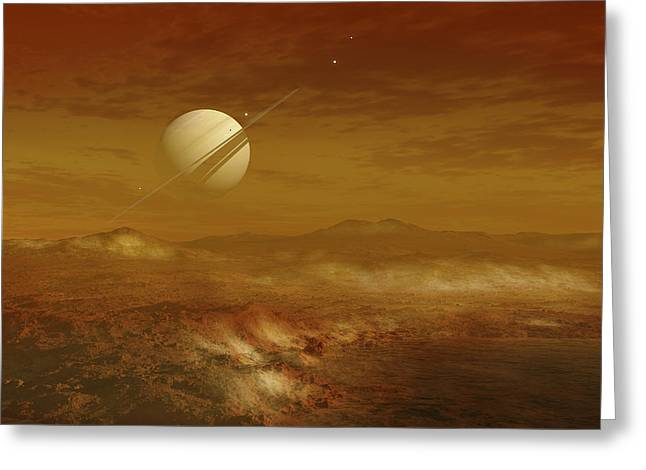 Saturn Above The Thick Atmosphere Greeting Card by Fahad Sulehria