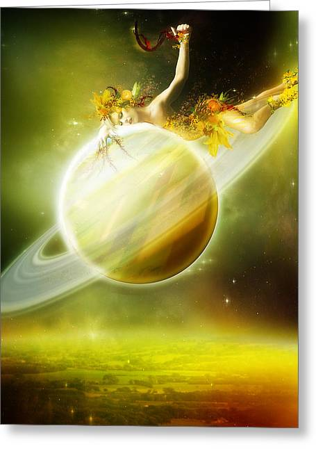 Saturn Greeting Card by Mary Hood