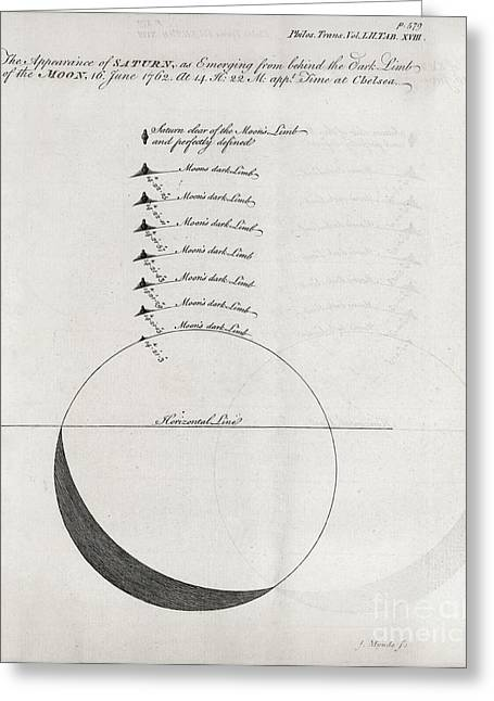 Saturn-moon Observations, 1762 Greeting Card by Middle Temple Library