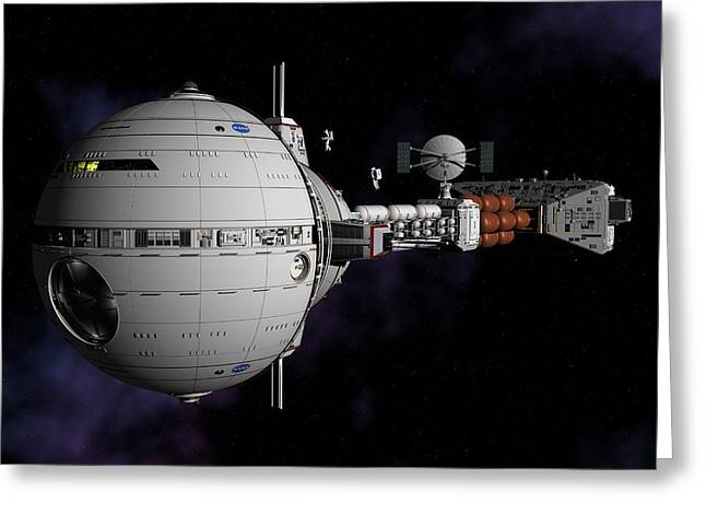 Saturn Spaceship Uss Cumberland Greeting Card