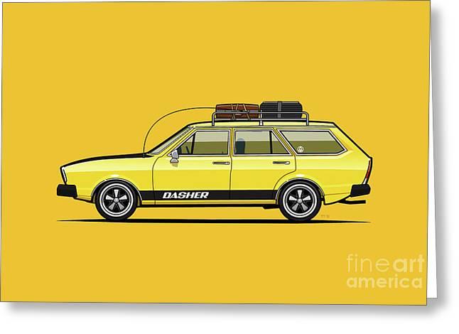 Saturn Yellow Volkswagen Dasher Wagon Greeting Card