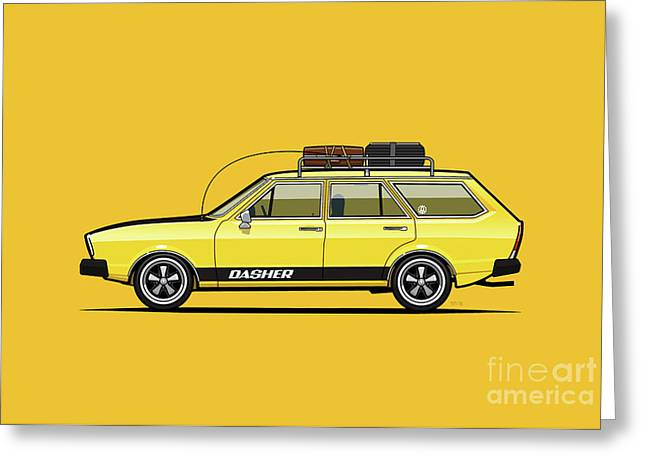 Saturn Yellow Volkswagen Dasher Wagon Greeting Card by Monkey Crisis On Mars