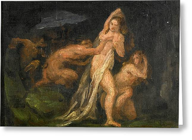 Satyrs And Nymphs Greeting Card