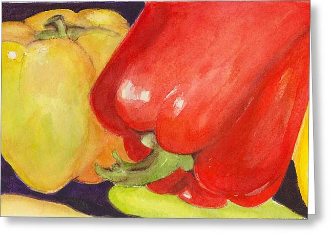 Saucey Peppers Greeting Card by Vickie Blair