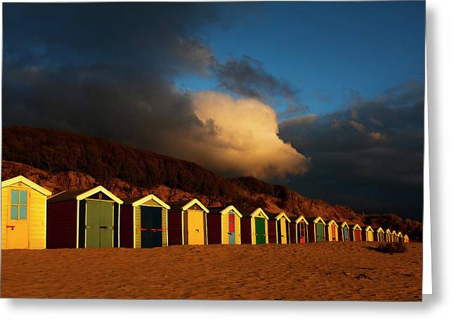 Saunton Sands Beach Huts, Barnstable, Devon Greeting Card