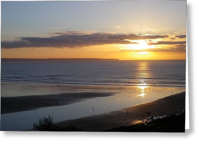 Saunton Sands Sunset Greeting Card by Richard Brookes