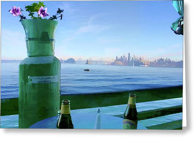 Greeting Card featuring the digital art Sausalito Cafe by Michael Cleere