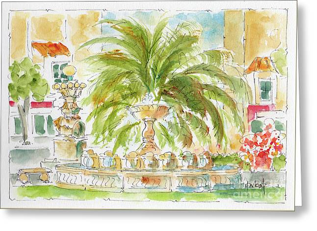 Greeting Card featuring the painting Sausalito Fountain by Pat Katz