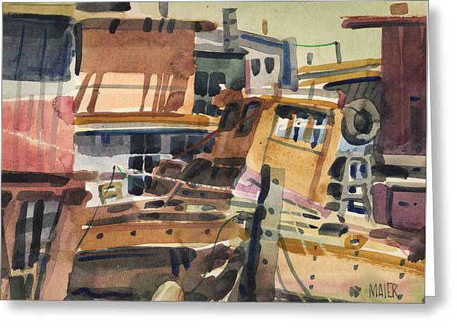 Sausalito House Boats Greeting Card
